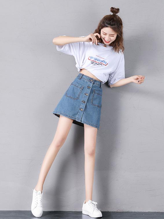 Đầm Váy denim một chữ váy nữ mùa xuân và hè mới học sinh thon thả Hàn Quốc phiên bản eo cao in siêu