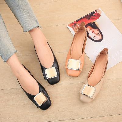 giày bệt nữ Khóa vuông miệng nông mùa thu mới giày đơn nữ vuông phẳng mềm mại và thoải mái giày mùa