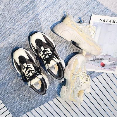 giày bánh mì / giày Platform Giày lưới màu đỏ cổ mùa thu cũ nữ 2019 mùa thu mới phiên bản Hàn Quốc d