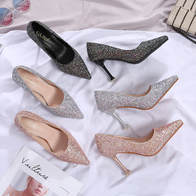 giày cô dâu Giày cưới nữ 2019 mới pha lê cao gót đính sequin với giày cô dâu mũi nhọn cỡ lớn 41-43 c
