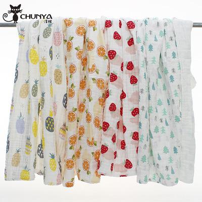 CHUNYA Khăn tắm 110 * 110 bông mật độ cao sơ sinh sáu lớp khăn tắm bong bóng gạc trẻ em là trẻ sơ si