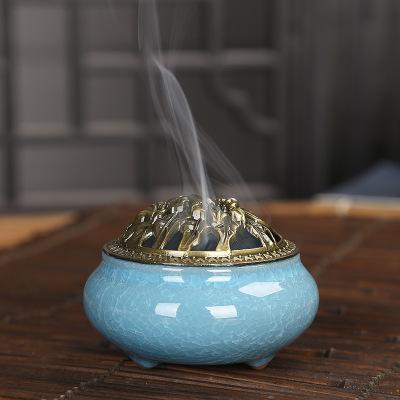 Lư hương Đốt nhang , đốt trầm hương bằng đồng kết hợp kiểu đá nứt .