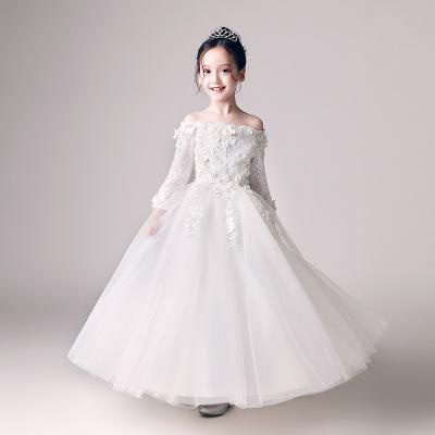 Trang phục dạ hôi trẻ em Mùa thu đông 2019 trẻ em mới váy công chúa váy hoa fluffy hoa cô gái nước n