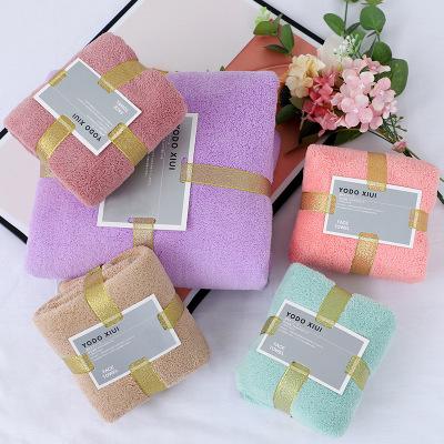 YUMEIYA Khăn tắm Nhanh tay cho mật độ cao san hô lông cừu khăn quà tặng khăn tắm mẹ đặt khăn tay quà