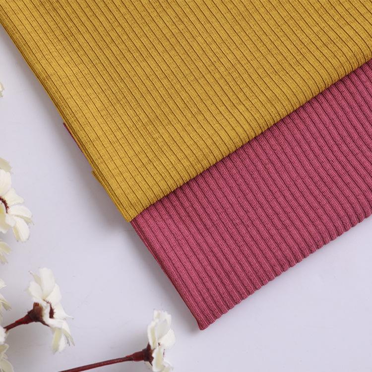 Vải Rib bo Vải thun sườn sườn vải sợi polyester hai mặt Vải thời trang Dải dọc sọc tại chỗ