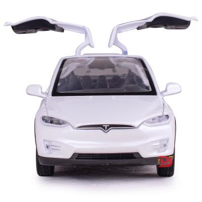 Mô hình xe Bao Silan Mô phỏng Tesla MODELX90 mô hình xe hợp kim Trẻ em âm thanh và ánh sáng kéo trở