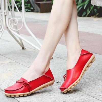 giày bệt nữ Giày nữ bình thường Giày da mẹ bằng phẳng Giày đậu Hà Lan Giày y tá có gân bò Giày thấp