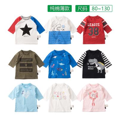 Áo thun trẻ em Mùa hè bé trai và bé gái 7 điểm tay áo thun cotton cho bé 7 điểm tay áo mỏng xuất khẩ