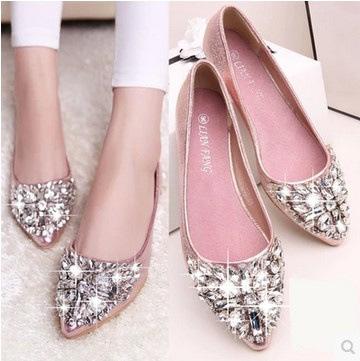 Giày da một lớp Giày đơn đế phẳng đế bằng với giày thông thường 2018 xuân hè mới giày kim cương thủy