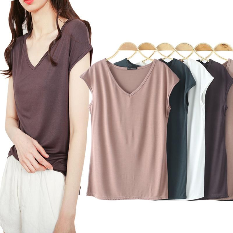 Áo thun Mẫu áo thun nữ mùa hè 2019 phiên bản Hàn Quốc của những chiếc áo sơ mi nữ cổ chữ V mới không