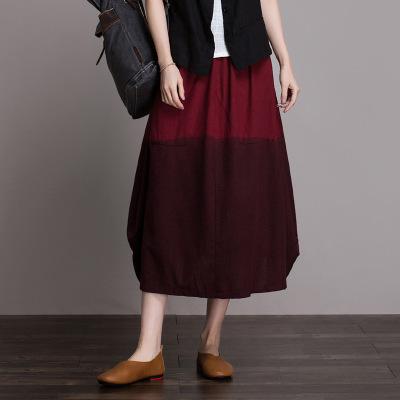 váy Váy cotton và vải lanh màu tương phản trong đoạn dài nữ 2019 mới co giãn eo thon size lớn là váy