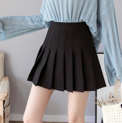 váy Váy xếp li nửa dài nữ 2019 mới váy ngắn nữ mùa thu eo cao một từ váy đại học in gió váy ngắn vá