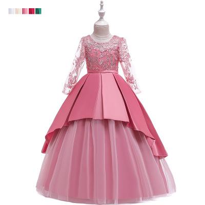 Trang phục dạ hôi trẻ em Váy trẻ em dài lưới mới thêu công chúa váy váy cô gái dài tay áo cưới dài l