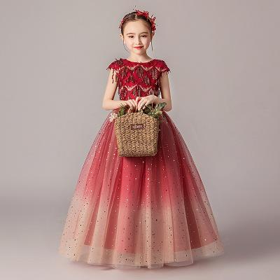 Trang phục dạ hôi trẻ em Chương trình sinh nhật bé gái, váy dạ hội, áo choàng, váy công chúa trẻ em,