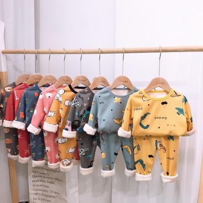 Đồ ngủ trẻ em 59180 bé trai và bé gái hoạt hình tại nhà 2019 bộ đồ ngủ mùa đông