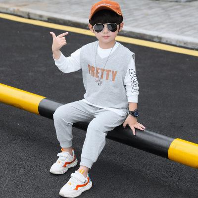 Thị trường trang phục trẻ em [vội vàng mua gai] Người mẫu mùa thu 2019 trong bộ đồ thể thao ba mảnh