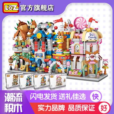 Bộ đồ chơi rút gỗ LOZ khối xây dựng chế độ xem phố cho các khối đồ chơi trẻ em Các khối nhỏ xây dựng
