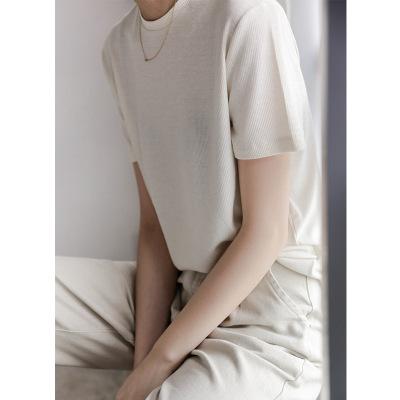 áo thun Áo ngắn nữ 2019 xuân hè mới Hàn Quốc áo sơ mi màu rắn hoang dã siêu lửa cổng gió đơn giản áo