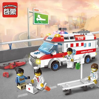 Đồ chơi hoạt hình Khai sáng chính hãng 1118 Xe cứu thương khẩn cấp Bán nóng lắp ráp đồ chơi khối xây