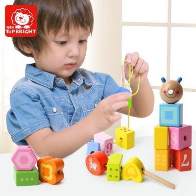 Bộ đồ chơi rút gỗ Tebao 7715 sâu bướm bé xâu chuỗi khối đồ chơi giáo dục trẻ sơ sinh trẻ nhỏ đeo hạt