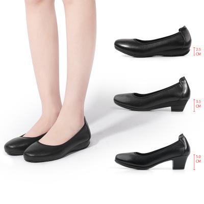 Giày da một lớp Mùa xuân 2019 mới giày cao gót tròn đầu tròn với giày đế bằng da công sở cỡ lớn giày