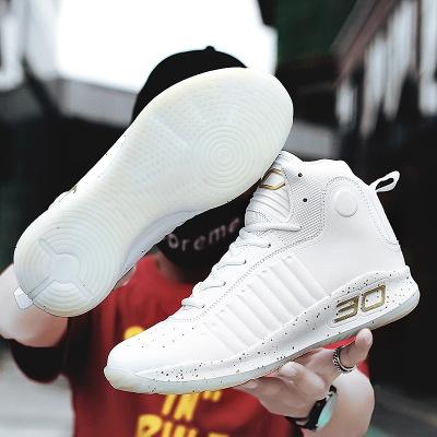 Giày FuJian Curry bóng rổ giày cao để giúp giày nam xuyên biên giới chống mài mòn đôi giản dị đôi g