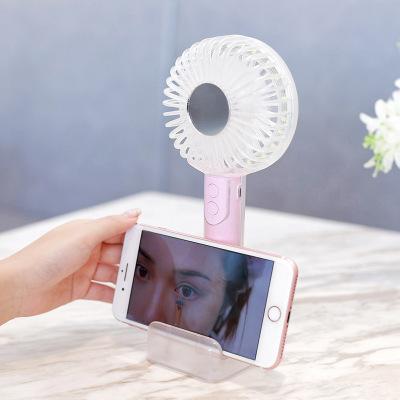 Quạt máy Quạt đèn pha lê mới 2019 có đèn sạc USB cầm tay mini quạt câm sáng tạo điền gương quạt