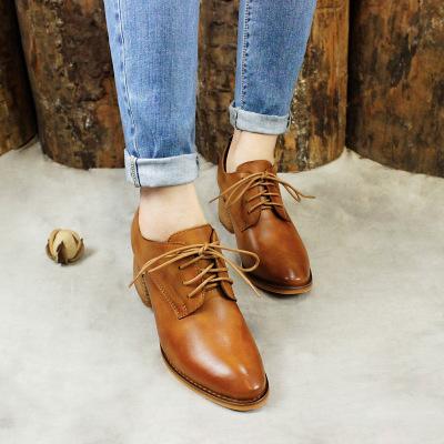 Giày da một lớp Mùa thu mới retro giày đơn cao gót da cao cấp Lớp da đầu tròn sâu miệng màu ren giày
