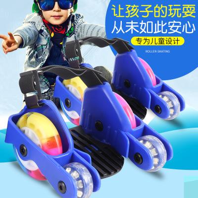 Xe một bánh tự cân bằng Bốn bánh xe nóng lăn con lăn giày trượt dây giày phụ trợ Heelys trẻ em ngôi