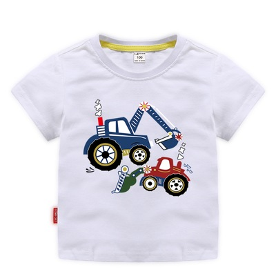 Áo thun trẻ em Cơm nam mùa hè ngắn tay nam bé hoạt hình đào máy in ấn chạm đáy áo sơ mi cotton nửa t