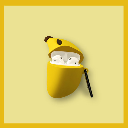 Aigo Hộp đựng tai nghe Airpods bảo vệ vỏ silicon cá tính sáng tạo vỏ mềm Airpods2 dễ thương bơ chuối