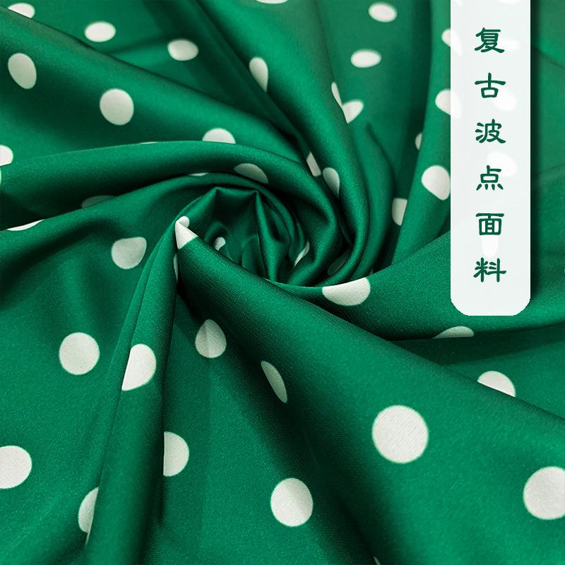 YINAN Vải Polyester Pháp retro màu xanh lá cây 1cm wavelet vải đàn hồi vải satin mùa hè kỹ thuật số