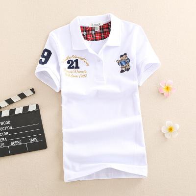 áo thun Áo thun cotton tay ngắn gấu bông 2019 mùa hè nữ rộng cỡ áo sơ mi rộng tay áo sơ mi POLO