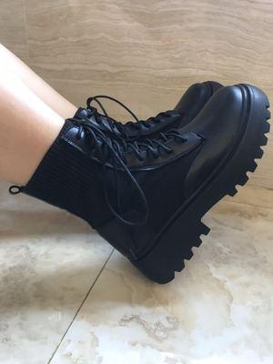 giày bánh mì / giày Platform Giày đế bệt Martin nữ đế dày 2019 mới dày với người hâm mộ nước Anh hoa