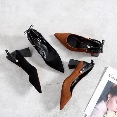 Giày GuangDong Giày cao gót nữ 2019 mùa thu mới retro hoang dã Giày đơn nữ mũi nhọn Giày cao gót da