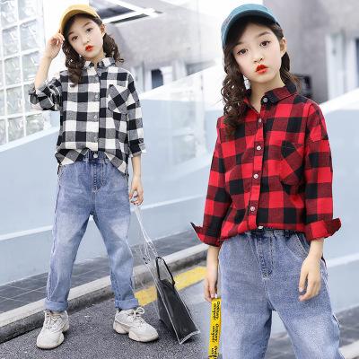 Áo Sơ-mi trẻ em Áo sơ mi nữ mùa xuân và quần áo mùa thu cho bé lớn Phiên bản quần áo trẻ em Hàn Quốc