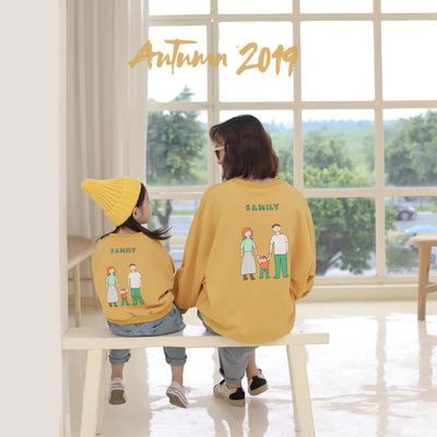 TREEBIB Áo thun gia đình Áo len bố mẹ cho trẻ em mùa thu 2019 phiên bản mới của Hàn Quốc mùa thu trẻ