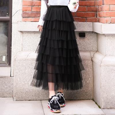 váy Váy 2019 váy mùa thu nữ mềm mại phiên bản Hàn Quốc của eo cao lưới nửa váy xếp li một thế hệ