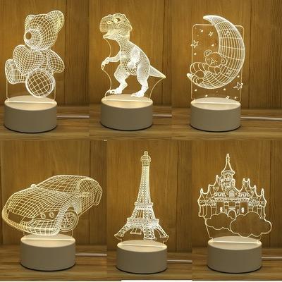 Đèn điện, đèn sạc Đèn ngủ 3D nổi bật Plug-in hoạt hình sáng tạo mini đèn bàn phòng ngủ đèn ngủ acryl