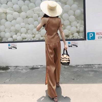 Đồ Suits Mùa hè 2018 mới bất thường đai mỏng cổ áo thắt lưng thời trang phù hợp với hai mảnh