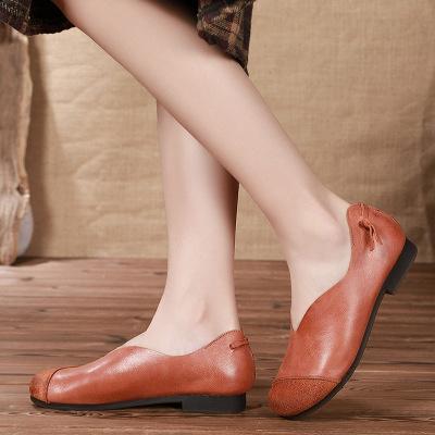 Giày GuangDong Giày da chính gốc Quảng Châu thoải mái bằng phẳng thoải mái giản dị 2019 mùa thu già