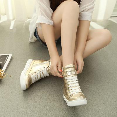 Giày tăng chiều cao Mùa xuân và mùa hè Giày thông thường của Hàn Quốc Giày đơn với giày thể thao đế
