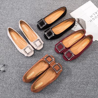 Giày GuangDong Giày đơn nữ 2019 mới đế phẳng đế bằng da lộn vuông khóa giày nữ Thời trang Hàn Quốc
