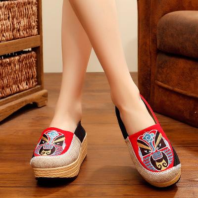 giày vải 1618-02 Dép thêu mới chính hãng Bắc Kinh Opera Facebook vải lanh gió quốc gia xu hướng giày