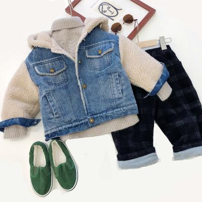 Trang phục Jean trẻ em 19 mùa đông phiên bản Hàn Quốc mới của các bé trai và bé gái cộng với lông cừ