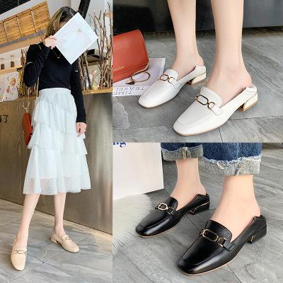 Giày Loafer / giày lười Giày dép Mỹ Pa lớp da đầu tiên Giày Lok Fu Giày da nữ 2019 đế bằng mới mùa