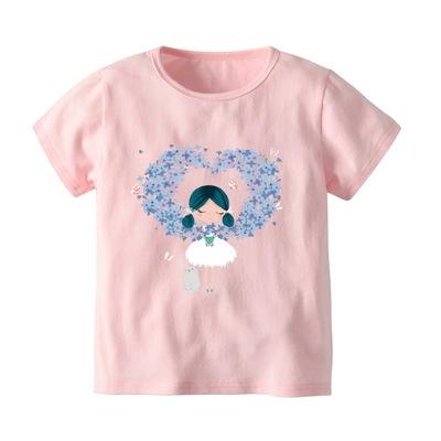 Áo thun trẻ em Mùa hè 2019 mới Áo phông ngắn tay châu Âu và Mỹ Cô gái hoạt hình màu hồng Cô gái tay