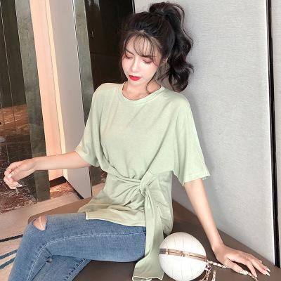 áo thun Áo thun lụa Áo thun gió thanh lịch cho nữ trái tim nhỏ nhắn 2019 phiên bản mới của Hàn Quốc
