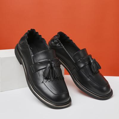 Giày Loafer / giày lười Ming  đôi giày tua rua nhỏ màu đỏ nữ nông cạn 2019 mùa thu sinh viên hoang