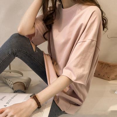 áo thun Mùa hè 2019 mới áo thun màu kẹo nữ học sinh tay ngắn buông thả Han Fan in áo sơ mi nửa tay